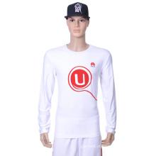 Camisa longa lisa branca CVC da luva de 2016 Cutom Camiseta