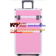 Красочный пользовательский алюминиевый мобильный косметический чемодан