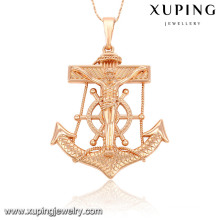 Xuping Rose de moda rosa cruz de joyería de imitación de oro colgante-32564