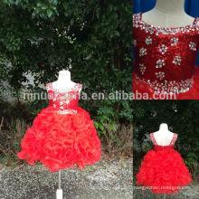 Реальные фотографии 2014 горячие продажи Красный блесток бальное платье для девочек платья с квадратным вырезом Кристалл Раффлед органзы pageant платье NB0501