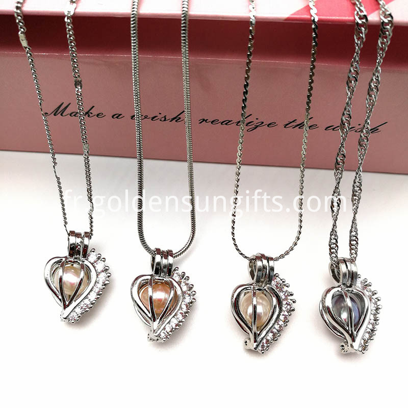 Freshwater Pearl Cage Locket Pendant Necklaces