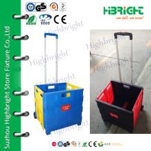 portable plastic folding luggage trolley