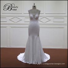 Мягкие атласная свадебное платье со шлейфом