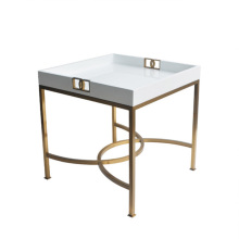 Modern square white marble top metal coffee table