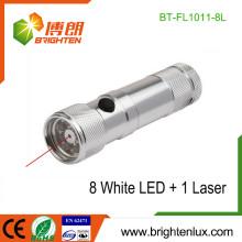 Factory Supply 3 * AAA Dry Battery Powered Multi-fonctionnel 2 en 1 Aluminium 8 led Laser Flashlight