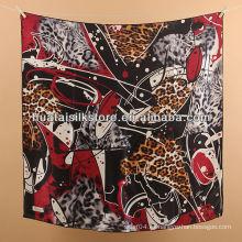 Bufanda de seda turca mujeres bufanda de seda turca de la marca de fábrica del diseñador del leopardo rojo