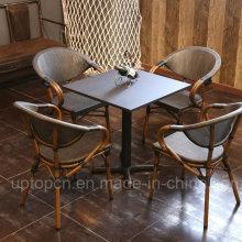 Открытый и крытый стол и стулья из ротанга PE стула и квадратный стол (СП-CT837)