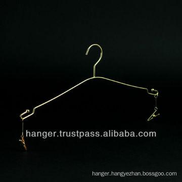 Golden Girly Metallic Lingerie Hanger with Clips for Hotel Equipment