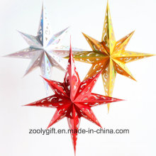 Laser Card Paper Set of Hanging Star Party Decoration / Hang Paper Christmas Holiday Octagonal Star Lanterns