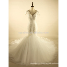 2017 estilo de moda renda vestido de casamento de tule de sereia com fotos reais