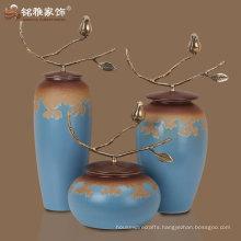 set of 3 design OEM ODM sumptuous ceramic vases with brass handle