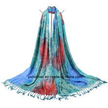 Fashion Lady Jacquard Raindrop Pattern Scarf