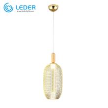Lámparas colgantes de madera y vidrio LEDER