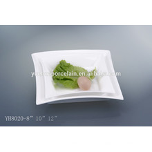 Pratos de jantar por atacado de porcelana de tamanho diferente quadrado mordern placa grossista