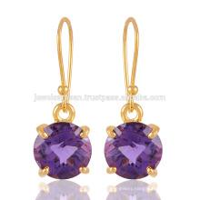 Buy Best Yellow Gold Plated Sterling Silver & Checker Cut Purple Amethyst Gemstone Earring