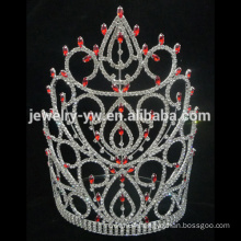 red large tall princess crystal tiara crown for women