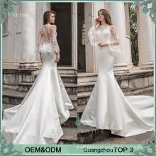 New fashion ladies beige mermiad sillusion neckline wemen fancy wedding dress
