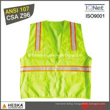 Mens Hi Viz Pockets Lattice Tape Safety Vest