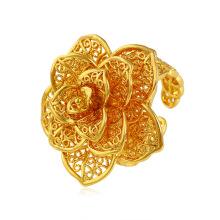 Xuping elegante flor em forma de anel de ouro 24k banhado com padrão requintado