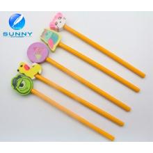 Woonden Pencil with Eraser Set, Pencil Hole Eraser for Promotion, Funny Animal Shape Eraser