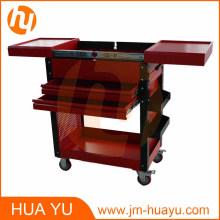 Dos cajones correderas acero rojo paneles superiores gabinete herramienta pecho de herramienta de garaje y fábrica