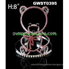 cheap rhinestone bear tiara crown -GWST0395