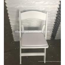 Chaise pliante en plastique résine en plastique blanc pour les mariages