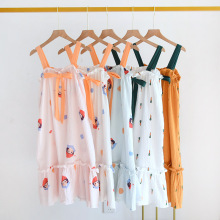suspender pure cotton printed small fresh summer