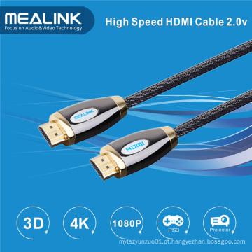 Nylon trançado 24k banhado a ouro HDMI 1.4 2.0 cabo