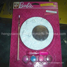 DIY круглой формы Гипс ремесла Маленькая игрушка зеркало ребенка