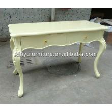 Mesa de consola de madeira soidal de cor creme I10025