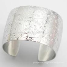 Kaufen Aus China Wide Edelstahl Blumenstulpe Armband Silber