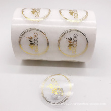 Custom Round Transparent Label Clear Logo Sticker with Gold Stamping for Glass Bottle Packaging