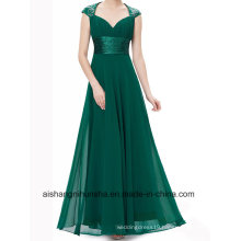 Official Evening Dress V-Collar Flash Chiffon Wrinkled Empire