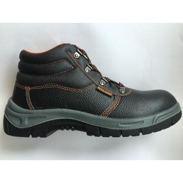 Divisão superior em relevo sapato de segurança de trabalho de solado PU de couro