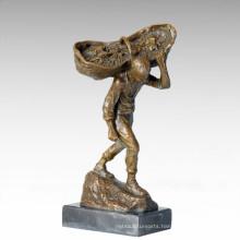 Eastern Life Statue Grape Basket Bronze Figure Sculpture TPE-382
