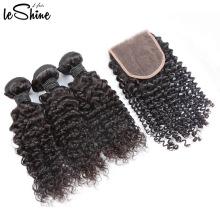 Venta caliente virgen sin procesar brasileña 3 paquetes de pelo rizado con cierre 9A 10A buen precio y al por mayor