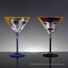 Handgemaltes Martini-Glas für Cocktail