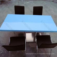 populares mesas de jantar públicas de superfície sólida azul