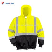 Sweat-shirt à capuche entièrement zippé de citron et de couleur noire de haute visibilité avec le travail de nuit de bandes réfléchissantes de 3M