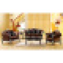 Sofá de tecido com moldura de madeira para sofá e mesa lateral (650C)