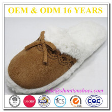 Micro suede upper faux fur lining soft sole cheap comfortable womens winter indoor slipper