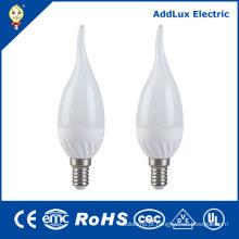 Luz morna da vela do diodo emissor de luz do branco de 220V AC Dimmable 3W E14