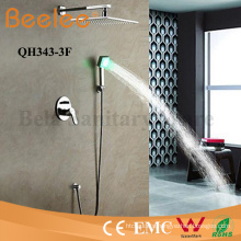 Shower Faucet Self-Powered LED Wall Mount Rainfall Shower Head
