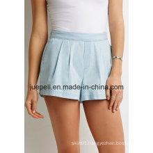 Knife-Pleated Elasticized Waist Slanted Front Pockets Denim Shorts