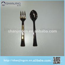 10-12 cm de degustação promocional colher de plástico e garfo conjunto de talheres coberto ou ouro coberto personalizar