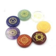 7 Chakra loose gemstones crystal stone natural aura treatment gem carving round oval symbol rolling polishing meditation crafts