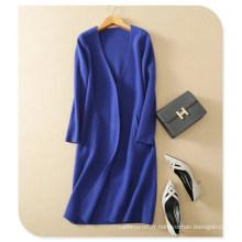 Ladies 'Knitwear Thick Pure Cachemire V-Neck Cardigan Manteau À Manches Longues