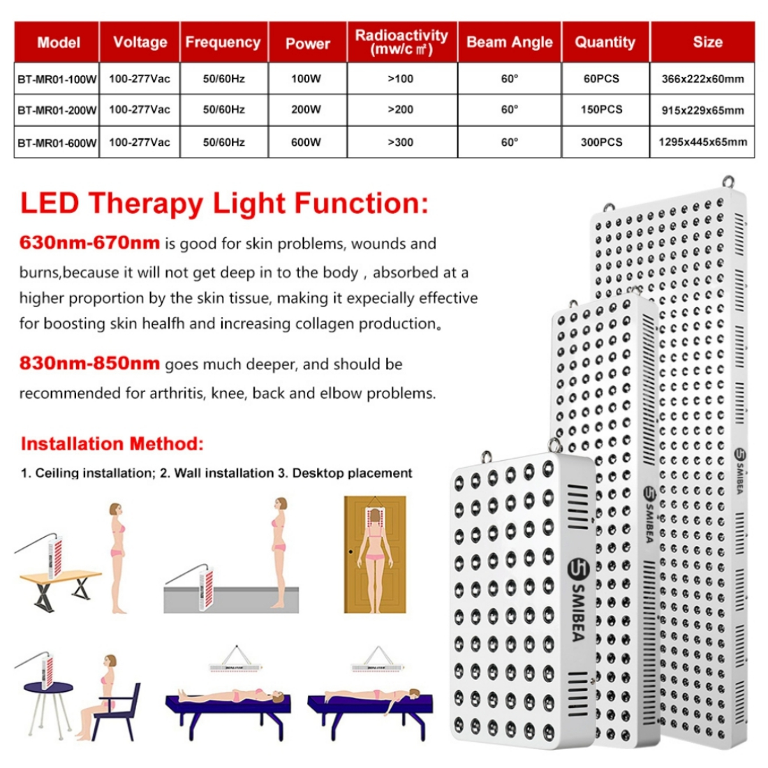 600W Therapy Lamp Machine LEDs Systems