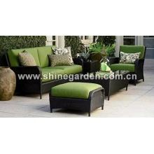 Outdoor-Wicker Möbel 6 Stück-Chat Set-Allwetter-Bau und Plüsch Kissen